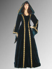 Medieval Renaissance Maiden Dress Gown with Hood, Handmade from Velvet