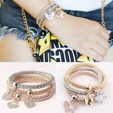 Hot 3Pcs/lot Butterfly/Heart Pendant Bracelet Charm Bangle Bracelet Snake Chain
