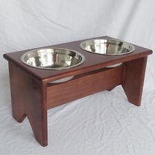 """Elevated Dog Bowl Stand - Wooden - 2 Bowls - 250 mm/10"""" Tall - Raised Dog Bowls"""
