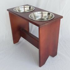"""Elevated Dog Bowl Stand - Wooden - 2 Bowls - 400 mm/16"""" Tall - Raised Dog Bowls"""