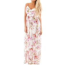 Women Chiffon Spaghetti Straps Floral Printed Maxi Dress