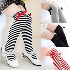 Adorable Girl Cotton Knee Socks Kid Children Baby Bowknot Striped Leg Warmers