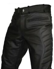 MENS SEXY REAL BLACK LEATHER MOTORCYCLE BIKERS PANTS JEANS TROUSERS- J3