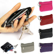 Durable Women Men Genuine Leather Zip Coin Purse Money Wallet Key Pouch Nice