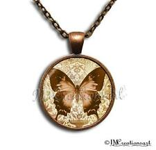 Glass Dome Bezel Pendant and Chain Link Necklace Two tone Rustic Butterfly AN116