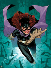 Batman: Cover Art of Batgirl Jumping Forward with Hand Reaching Out with Bats