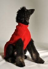 Handmade Red Cable Knit Organic Wool Dog Sweater