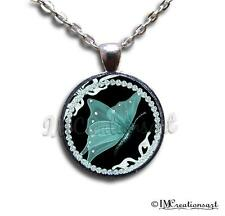Glass Dome Bezel Pendant + Necklace Nature Butterfly Turquoise AN134