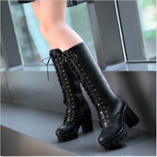 Women Goth Punk Boots Tall Calf Knee chunky High Military Knight Boots Lace Up