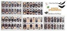 HALLOWEEN Nail Wraps Full Cover Patches  DIY Stickers  Skulls Ghost Bats Pumpkin