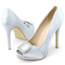 Ladies Peep Toe Diamante High Heels Shoes satin  fashion wedding Pumps Size