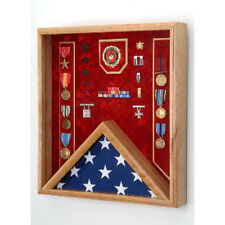 US Marine Corps Flag medal display case Hand Made By Veterans