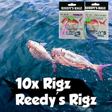 10 Flasher Rig Snapper Fishing Paternoster Tackle Baits Lure Rod Reel Snatchers