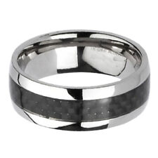 Titanium Black Carbon Fiber Stripe Comfort Fit Men's Wedding Band Ring