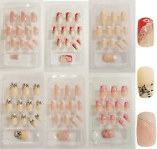 24 Pcs Full Nail French Tips Natural Finger False Fake Art Cover Manicure