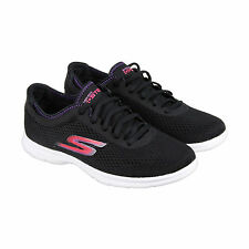 Skechers Sport Womens Black Mesh Lace Up Sneakers Shoes