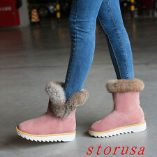 Women Lady Flat Heel Furry Ankle Boots Shoes Winter Warm Snow Boots Faux Suede#
