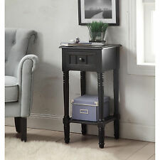 Wood End Table Antique Accent Side Storage Night Stand Drawer Shelf Living Room