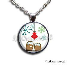 Handmade Glass Pendant Necklace Whimsical Christmas Holiday Owls Perched