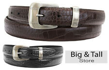 Big & Tall Men's Crocodile Embossed Leather Belt by Marc Wolf Sizes 48 - 58