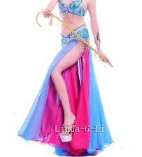 Chiffon 2 layers 2 side slits Long Skirt Belly Dance Costume 5 Colors 5/5