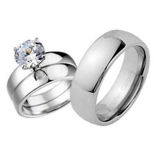 His and Hers Wedding Rings 3 pcs Engagement CZ Sterling Silver Tungsten Set CC