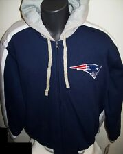 NEW ENGLAND PATRIOTS Hooded Jacket Full Zip PolyLined Hoody Sewn Logos LARGE