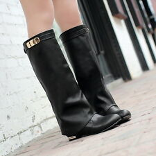 Womens Fashion Slouch Cuffed Knee High Mid calf Leather Riding Boots Plus Size
