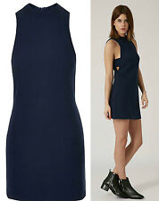Ex Topshop Blue Tab Cut Out A Line High Neck Dress sizes 6-16