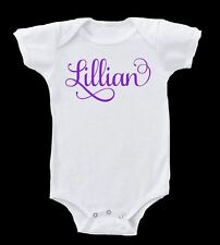 PERSONALIZED SWIRLY FANCY NAME BODY SUIT BABY GERBER ONESIE  BABY SHOWER GIFT