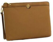 TORY BURCH Robinson Pebbled Leather Zip Pouch Clutch