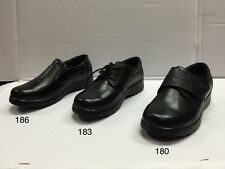 Women's Black Restaurant Work Shoes Genuine Leather Slip & Oil Resistant Wide.
