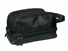 Dwellbee Classic Leather Toiletry Bag and Dopp Kit Black or Brown