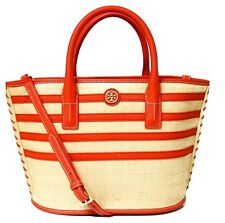 TORY BURCH Natural Red Stripe Straw Mini Tote