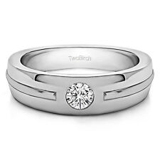 Sterling Silver Solitaire Mens Fashion Ring Or Mens Wedding Ring With Diamonds (
