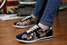 Fashion Mens Causal Flat Floral Lace Up Sneaker Shoes Black Blue Red New Flats