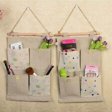 Cotton Linen Wall Door Hanging 4 Pockets Storage Bag Tidy Organizer Holder