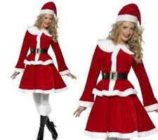 Miss Santa Deluxe Ladies Christmas Fancy Dress Costume S-XL