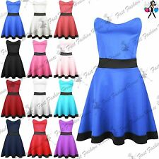 Ladies Womens Contrast Panel Strapless Bandeau Boobtube Flared Mini Skater Dress