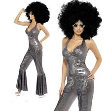 70's Disco Fever Costume Ladies Metallic Silver Catsuit Fancy Dress Outfit