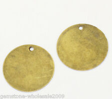 "Wholesale Lots Round Bronze Tone Blank Stamping Tags Pendants 20mm(6/8"") Dia"