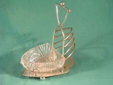 Antique Christopher Dresser Style Silver Plated Toast Rack with Glass Butter Dis