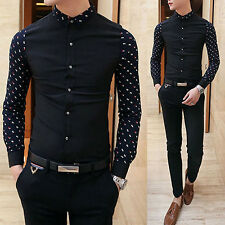 Handsome Men's Luxury Style Casual Shirts Slim Fit Long-Sleeve Dress Shirt Tops