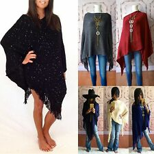 SEQUIN DESIGNER FRINGE PONCHO ULTRA SOFT CABLE KNIT SWEATER MULTI WEAR 6 COLORS