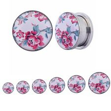 Steel Silver Enamel Flower Flesh Double Flared Ear Plug Tunnel Gauge Expanders