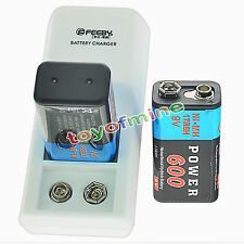 2x 9V 6F22 PPS Block 600mAh Ni-Mh Rechargeable Battery + Dual Batteries Charger