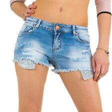 Womens Blue Ripped Jean Shorts Ladies Denim Hotpants Size XS-XL Women Hot Pants