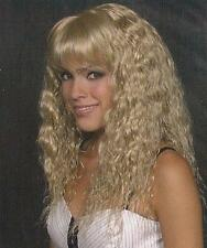 Medium Golden Blond Long Wavy Wig w/Bangs, Soft S-Waves