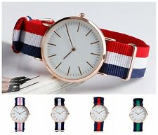 Casual Army Stripe Nylon Band Strap Student Men Women Quartz Wrist Watch Gift