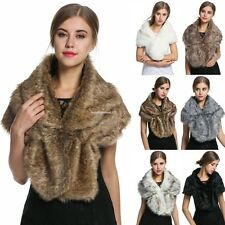New Women Elegant Fleece Faux Fur Shawl Shrug Soft Wedding Party Festival Scarf